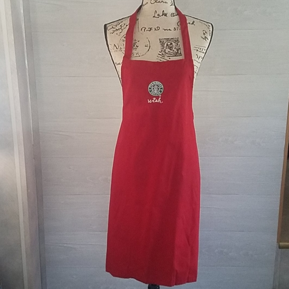Starbucks WISH Red Apron - See Pics For Damage